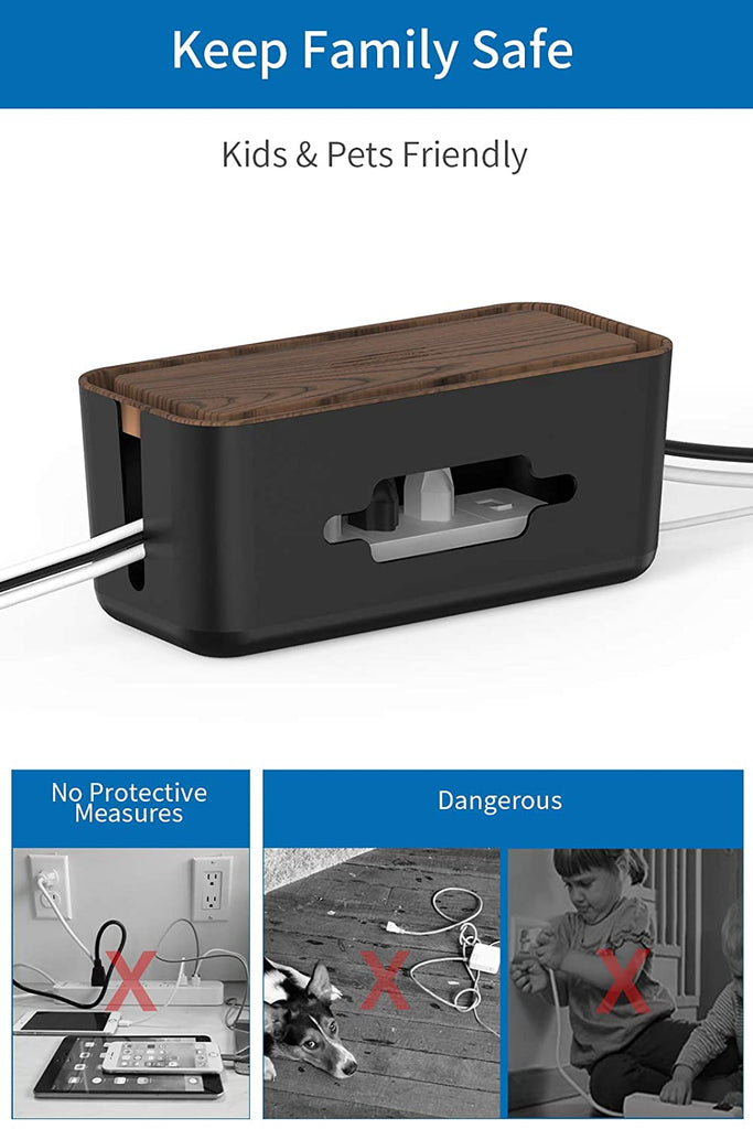 NTONPOWER Cable Management Box with Phone Holder, ABS Material Wooden Print, 12.2 X 5.4 X 5.1 inches Small Cable Box Organizer for Power Strip Cords Surge Protector TV Computer Home Office