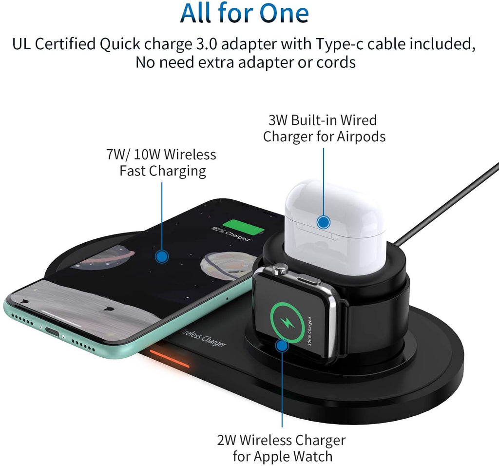 wireeless charging station for apple airpods iphone apple watch