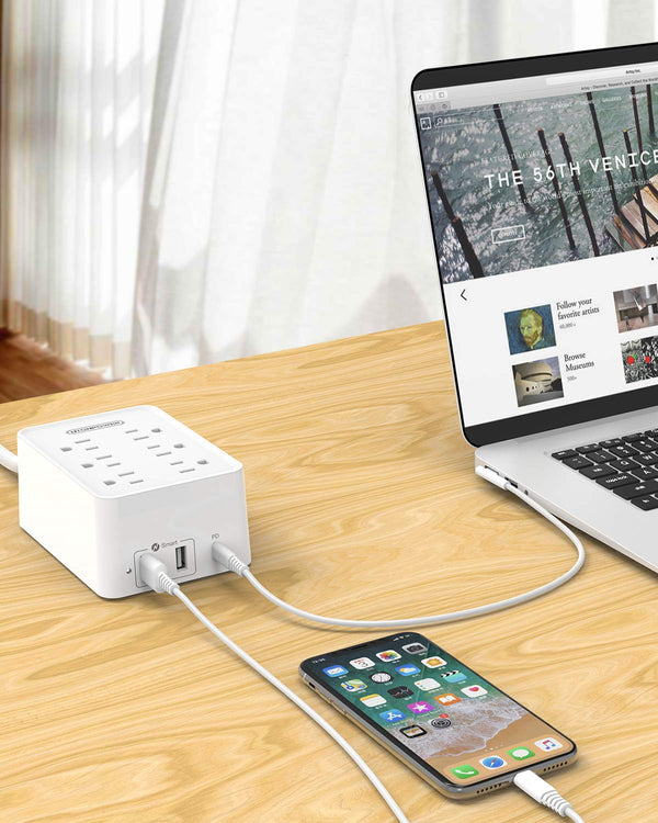 USB-C Power Strip with Power Delivery - NTONPOWER Power Strip Flat Plug, 6 Outlets and 3 USB (2 USB-A, 1 USB-C 45W), 6ft Heavy-Duty Extension Cord, 15A Circuit Breaker, for Home, Office and Dorm Room