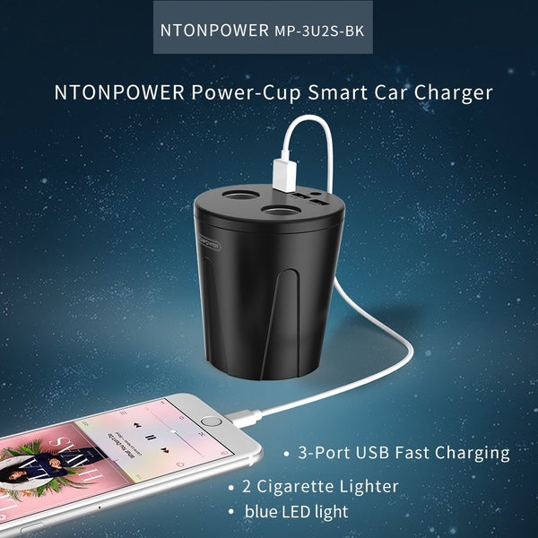 NTONPOWER MP 12V Output USB Car Charger Cigarette Lighter Adapter Quick Charger for Smartphone/Tablet Multi-function Cup Docking