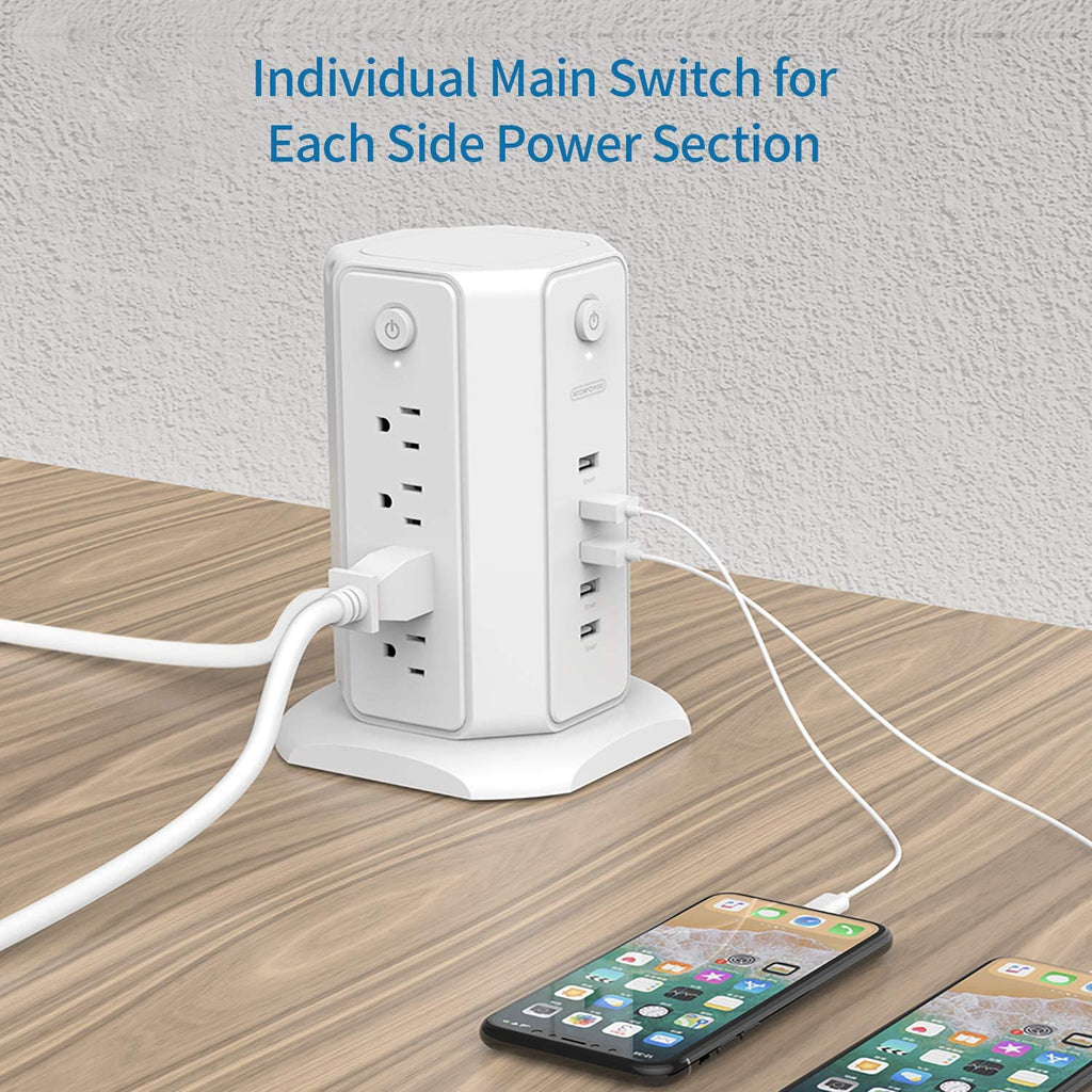 Power Strip Tower -Surge Protector Flat Plug, 10ft Long Extension Cord, 8 Outlets 5 USB | NTONPOWER