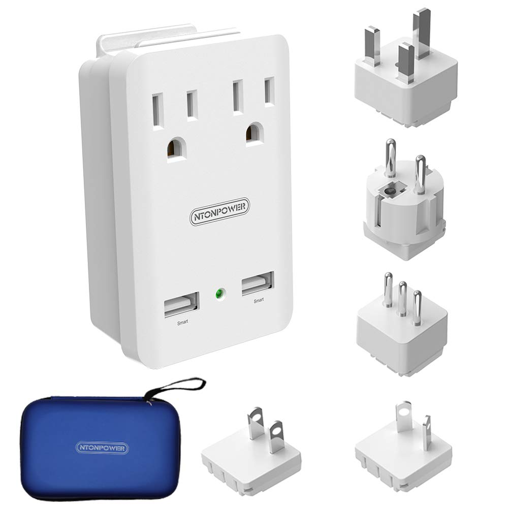 World Travel Adapter Kit - NTONPOWER International Power Adapter, 2 USB  Ports 2 Outlets, 2000W Universal Cruise Power Strip with Organizer Case for