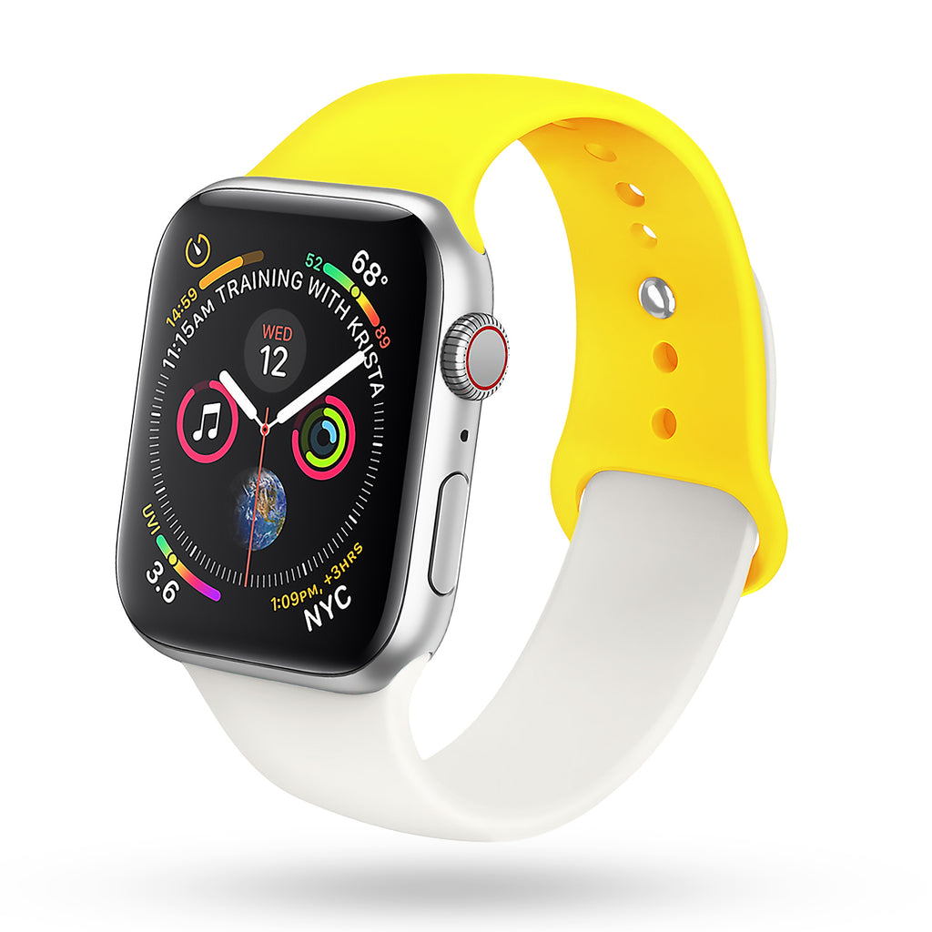 for White Apple Watch Band 38mm 40mm Series 4 Pack, Soft Silicone Sport Band Replacement Wrist Strap Compatible with for iWatch Series 4/3/2/1, Nike+,Sport,Edition (White - Yellow)