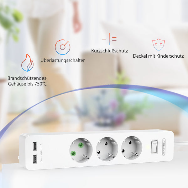 NTONPOWER Smart Power Strip Socket with Surge Protection EU Plug with Switch Power Outlet Extension Socket for Home&Office Desk
