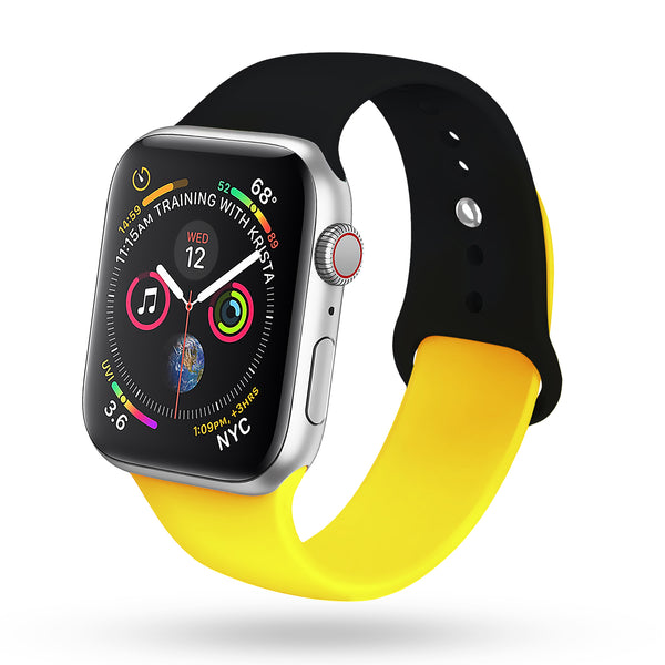 for Black Apple Watch Band 38mm 40mm Series 4 Pack, Soft Silicone Sport Strap Compatible with iWatch Series 4, Series 3/2/1, Nike+,Sport,Edition (Black - Yellow)