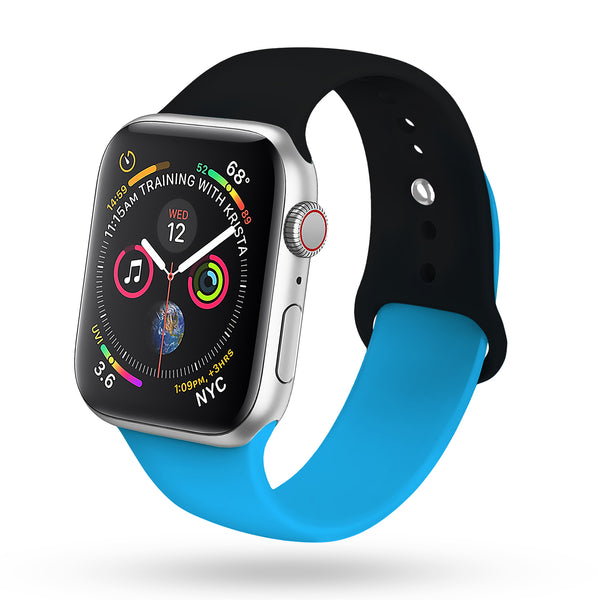 for Black Apple Watch Band 38mm 40mm Series 4 Pack, Soft Silicone Sport Strap Compatible with iWatch Series 4, Series 3/2/1, Nike+,Sport,Edition (Black - Blue)