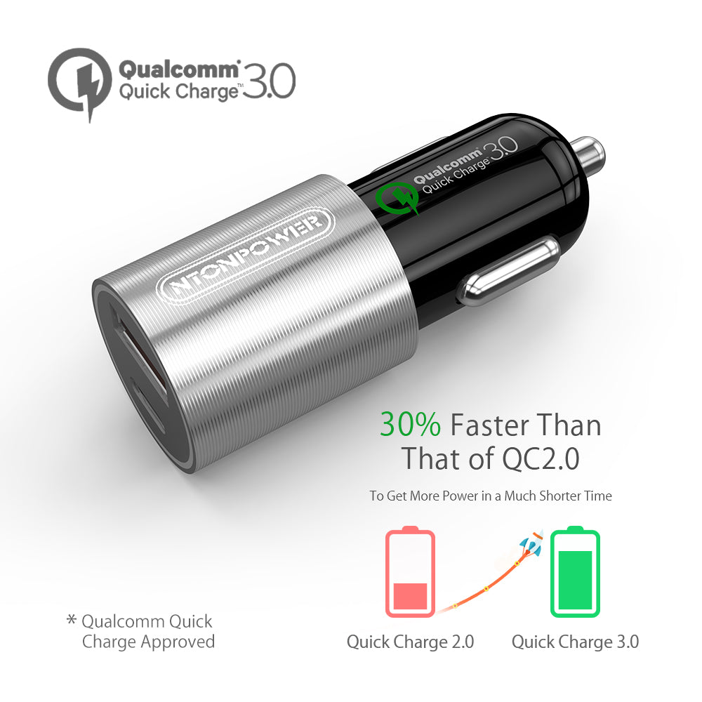 NTONPOWER 2 Port USB Car Charger Qualcomm Quick Charge 3.0 QC 2.0 Compatible and Type C 3A Fast Charging for Smart Mobile Phone