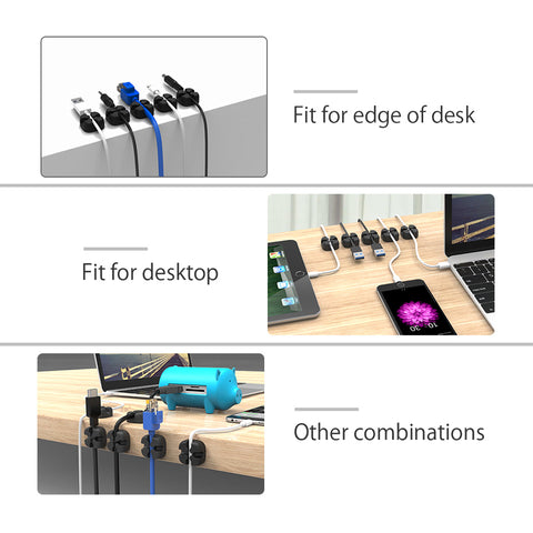 NTONPOWER CMS 10pcs Soft Silicone Cable Winder Desktop Wire Organizer Earphone Cable Holder Clip Mouse Cord Protector Management