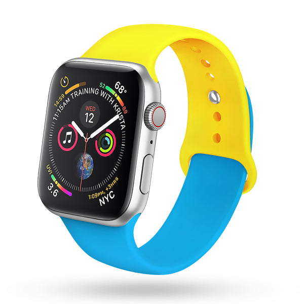 for Yellow Apple Watch Band 38mm 40mm Series 4 pack, Soft Silicone Sport Band Replacement Wrist Strap Compatible with for iWatch Series 4/3/2/1, Nike+,Sport,Edition (Blue - Yellow)