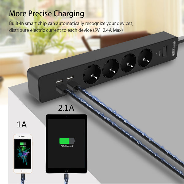 NTONPOWER Smart Power Strip Sockets EU Plug Overload Switch Surge Protector 4 Outlet 4 Port USB Charger - 1.8M Extension Cord