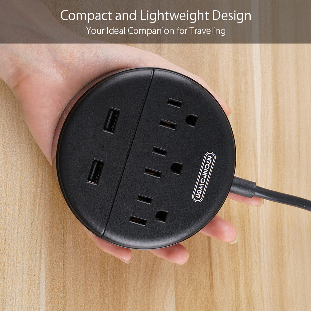 Power Strip with USB  Travel Power Strip Flat Plug 3 Outlets and 2 USB Ports  No Surge Protector(US Plug)