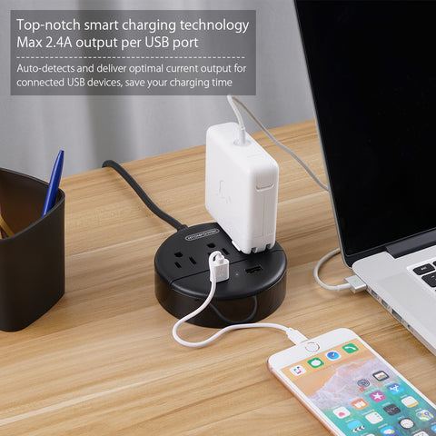 Power Strip with USB  Travel Power Strip Flat Plug 3 Outlets and 2 USB Ports Desktop Charging Station No Surge Protector [Sticker Included]