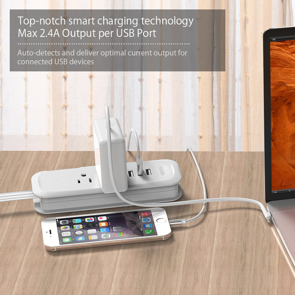 3-Port USB Power Strip with 2 Outlets Wrap Winder Design Mini Travel Charger with Right Angle Flat Plug and 15 inches Short Extension Cord for Nightstand Conference Center Library(Wholesale Power Strip)