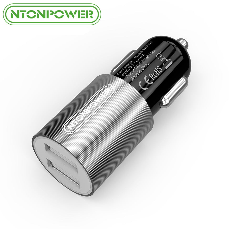 NTONPOWER Mini Portable Universal USB Car Charger Adapter DC 12V-24V Dual Ports 3A for Smart iPhone/ Samsung/ Xiaomi/ iPad
