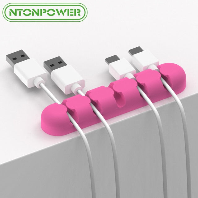 NTONPOWER CBS5 Silicone Cable Winder Earphone Cable Organizer Charging Cable Storage For Mouse Wire Holder Clip Cord Management