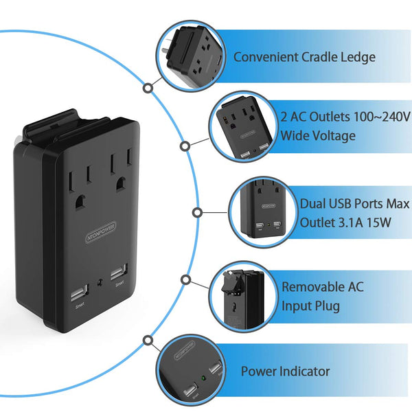 World Travel Adapter Kit, NTONPOWER 2000W Universal Power Adapter, 2 AC Outlets 2 USB Ports , Cruise Power Strip with Portable Carrying Case,Plug for Europe, UK, China, Australia, Italy, Japan - Black