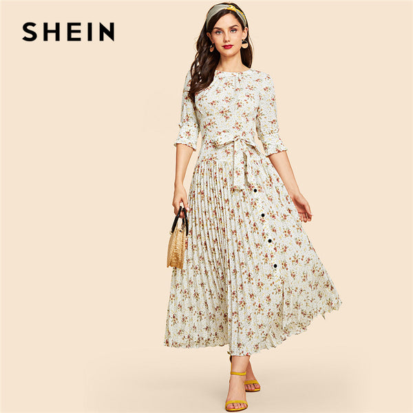68efbc0bd4 SHEIN Multicolor Self Belted Floral Print Pleated Hem Dress Vintage Half  Sleeve Maxi Dresses Women Elegant