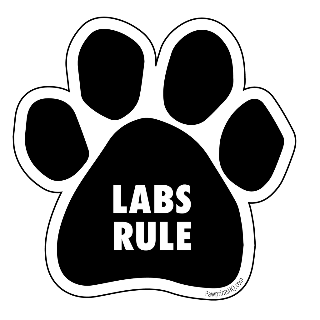 "Paw Print Sticker ""Labs Rule"" - pawprintshq-com"
