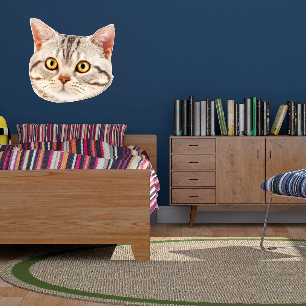 British Shorthair Head Vinyl Wall Sticker - pawprintshq-com