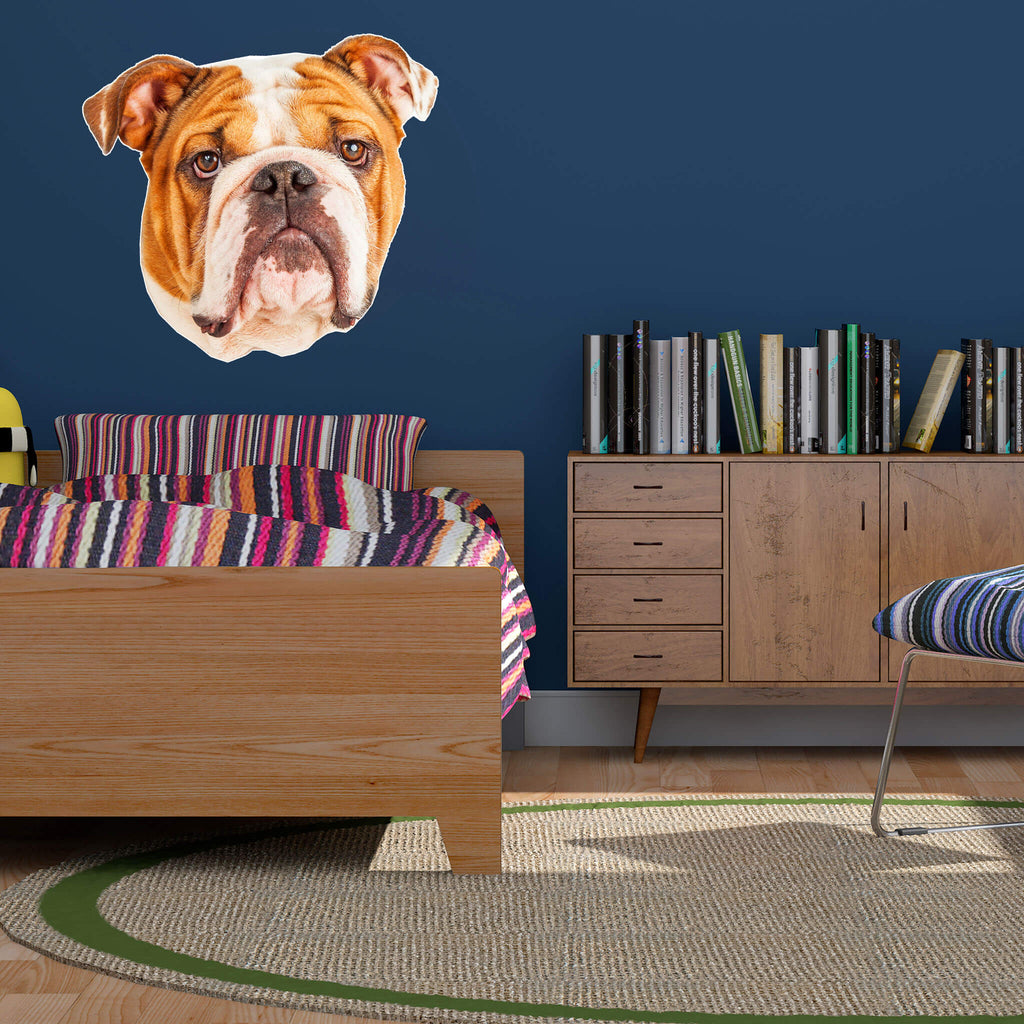 Bulldog Head Vinyl Wall Sticker - pawprintshq-com
