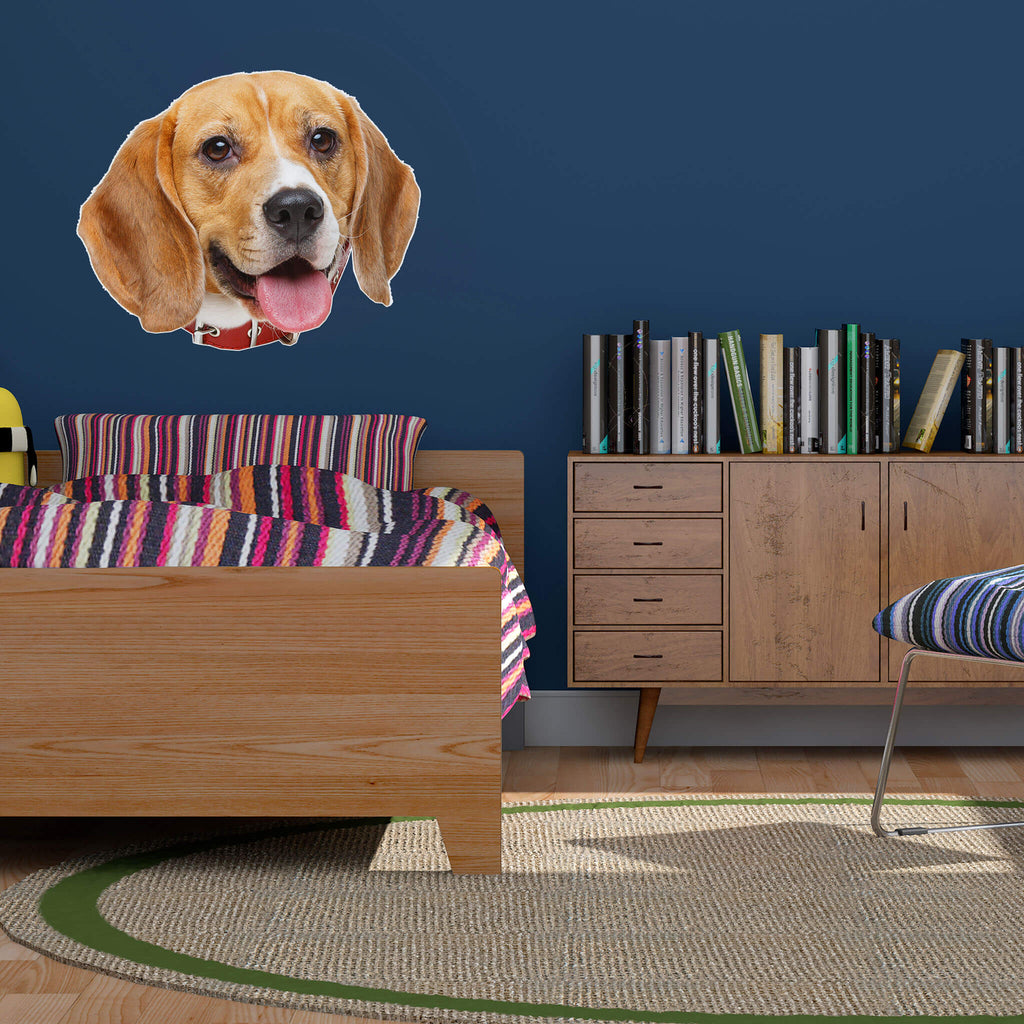 Beagle Head Vinyl Wall Sticker - pawprintshq-com