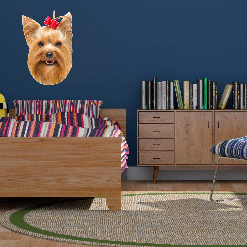 Yorkshire Terrier Head Vinyl Wall Sticker - pawprintshq-com