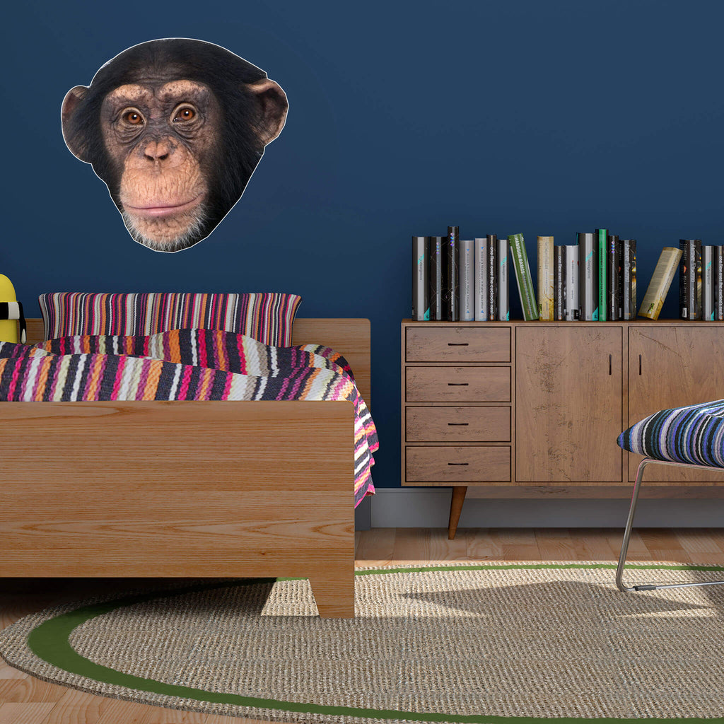 Chimpanzee Head Vinyl Wall Sticker - pawprintshq-com