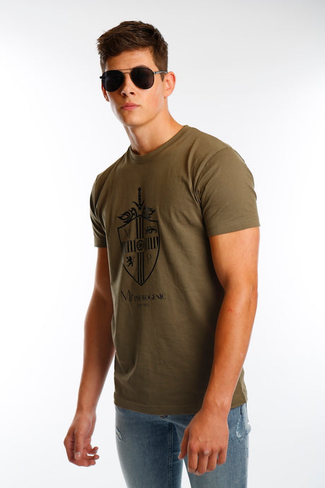 Olive Large Shield Logo T Shirt