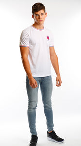 White Tipped Stripe Logo T Shirt - Mr Photogenic