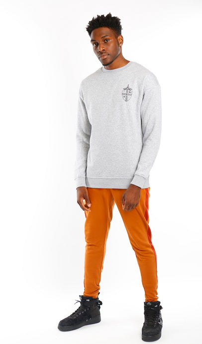 Grey Classic Shield Crew Neck Sweat - Mr Photogenic
