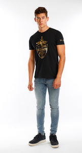 Black Bold Multi Logo Gold Foil Lightweight T Shirt - Mr Photogenic
