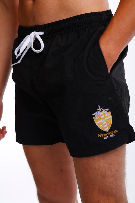 Black Embroidery Short Swim Shorts - Mr Photogenic
