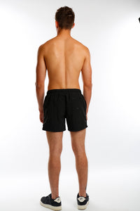 Black Embroidery Short Swim Shorts