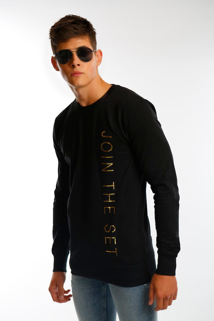 Join The Set® Gold Foil Light Weight Crew Neck Sweat In Black