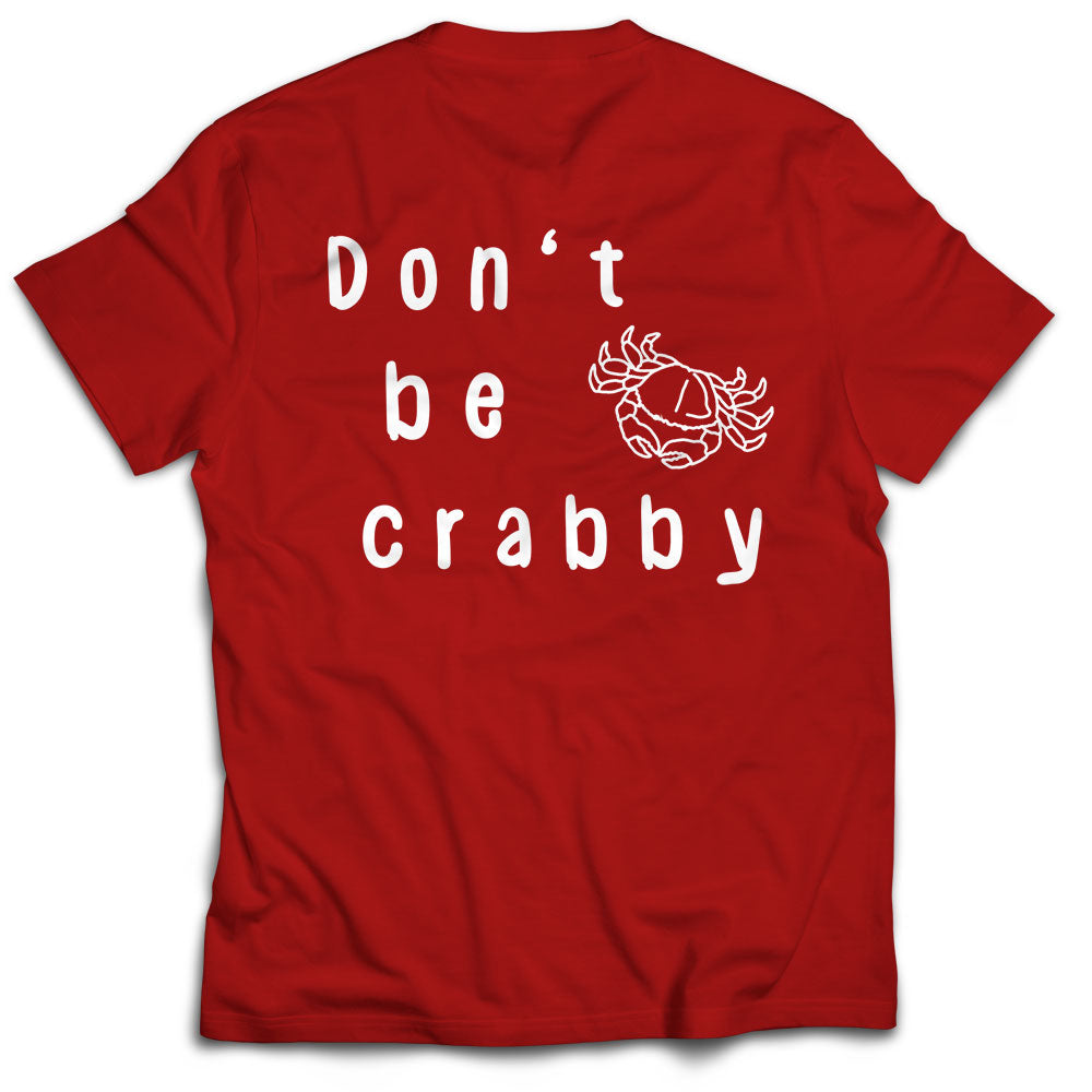 "Dockside Kitchen T Shirt  "" Don't Be Crabby"" Red"