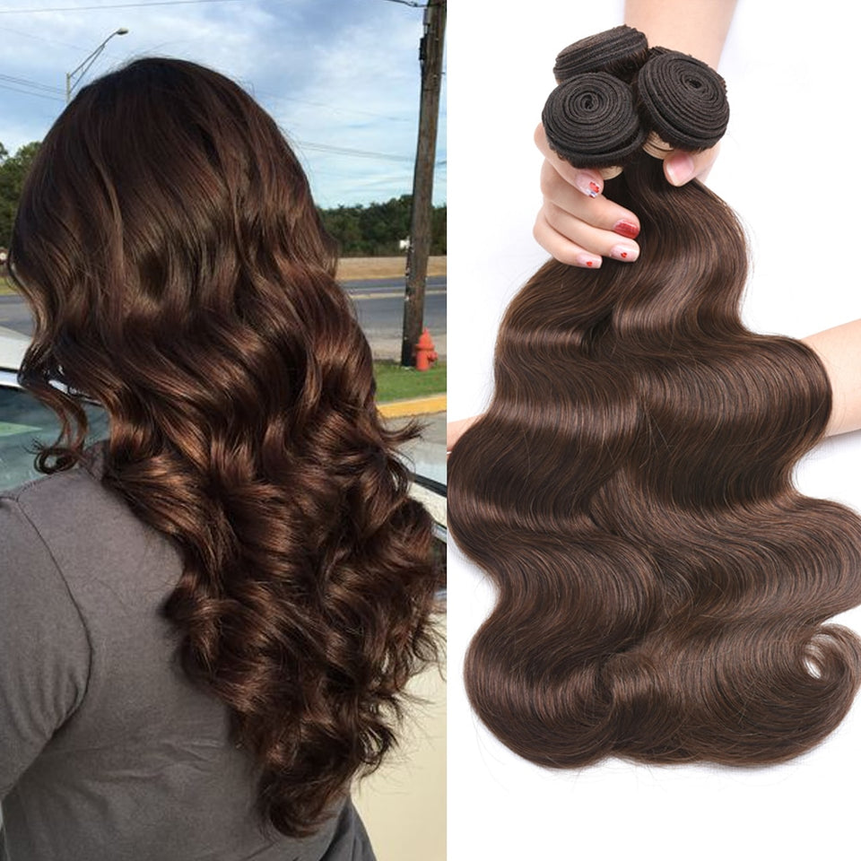 Pre-Colored Medium Brown Brazilian Body wave Human Hair Bundle Deals #4/#2