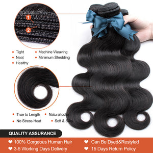 Remy Brazilian Body Wave Bundle Deals With Lace Closure