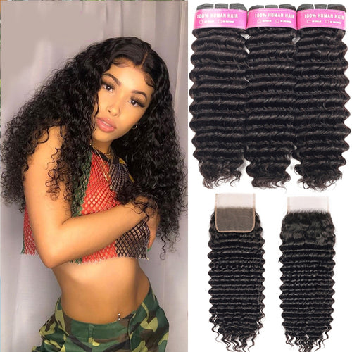 Remy Brazilian Deep Wavy Hair Bundles With Closure