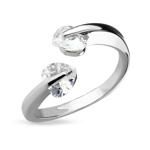 CZ Heart Tension Set Adjustable Rhodium Plated Brass Finger Mid-Ring or Toe Ring - FIFTHCUE.COM