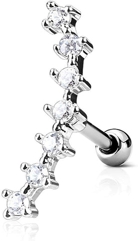 "Fifth Cue 16G CZ Curve Top 316L Surgical Steel Ear Cartilage Barbell Stud Labret Monroe Stud Steel | 1/4"" 6mm (Steel)"
