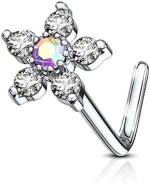 Fifth Cue 20G 6 CZ Flower Top 316L Surgical Steel L Bend Stud Nose Ring (Clear w/AB)