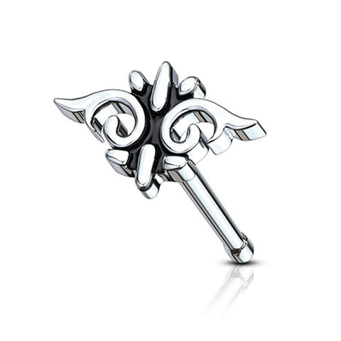 Fifth Cue 20G Tribal Wings Top Nose Bone Stud Ring 316L Surgical Steel