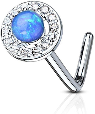 Fifth Cue 20G Dome Opal Center CZ Paved Circle 316L Surgical Steel L Bend Stud Nose Ring (Opal Blue)