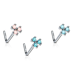 20G Triangle Stone Set 316L Surgical Steel L Bend Nose Stud Ring - FIFTHCUE.COM