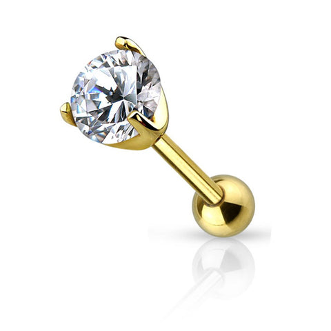 Fifth Cue 16G Prong Set Gem Cartilage - Tragus 316L Surgical Steel Basic Barbells (4mm Ball - Gold/Clear)