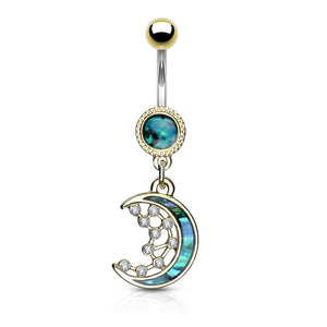 Fifth Cue 14G Mother of Pearl Inlay Crescent Moon & CZ Star Dangle 316L Surgical Steel Naval Belly Button Ring
