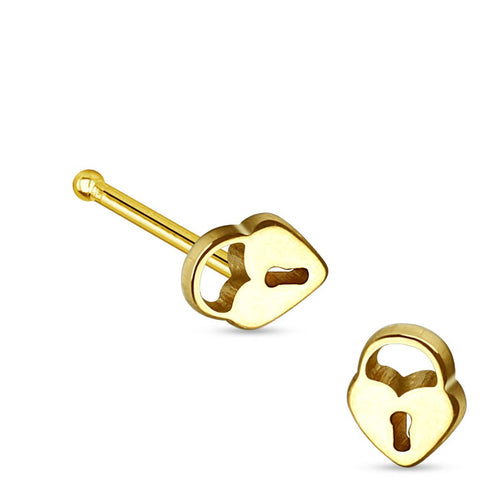 Fifth Cue 20G Heart Lock Top 316L Surgical Steel Nose Stud - Gold