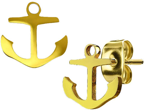 FifthCue 20G Pair of H& Polished Anchor 316L Surgical Steel Earring Stud