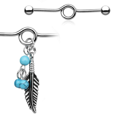 14G 316L Surgical Steel Industrial Barbell with Turquoise Beads and Tribal Feather Dangle
