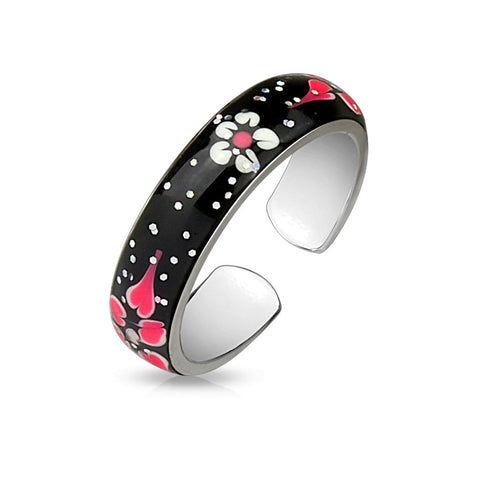 Fifth Cue Sparkle Enamel Painted Flowers Adjustable Rhodium Plated Brass Finger Mid-Ring or Toe Ring